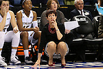 04 March 2016: Notre Dame head coach Muffet McGraw. The Duke University Blue Devils played the University of University of Notre Dame Fighting Irish at the Greensboro Coliseum in Greensboro, North Carolina in an Atlantic Coast Conference Women's Basketball Tournament Quarterfinal and a 2015-16 NCAA Division I Women's Basketball game. Notre Dame won the game 83-54.