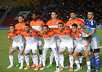 IBAGUÉ -COLOMBIA, 08-06-2015. Jugadores de Deportivo La Guaira de Venezuela posan para una foto previo al encuentro con Deportes Tolima de Colombia por la primera fase, llave G12 de la Copa Sudamericana 2016 jugado en el estadio Manuel Murillo Toro de la ciudad de Ibagué./ Players of  Deportivo La Guaira de Venezuela pose to a photo prior a match against Deportes Tolima of Colombia for the first phase, Kye G12, of the South American Cup 2016 played at Manuel Murillo Toro stadium in Ibague city. Photo: VizzorImage / Juan Carlos Escobar / Str