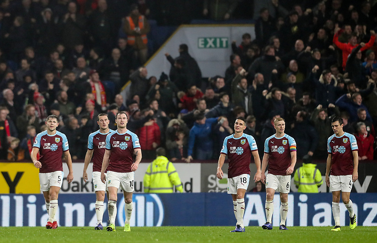 Burnley players show their despair after conceding a goal <br /> <br /> Photographer Andrew Kearns/CameraSport<br /> <br /> The Premier League - Burnley v Liverpool - Wednesday 5th December 2018 - Turf Moor - Burnley<br /> <br /> World Copyright &copy; 2018 CameraSport. All rights reserved. 43 Linden Ave. Countesthorpe. Leicester. England. LE8 5PG - Tel: +44 (0) 116 277 4147 - admin@camerasport.com - www.camerasport.com