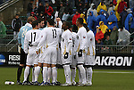 13 December 2009: Akron's starters huddle before the start of the game. The University of Akron Zips played the University of Virginia Cavaliers at WakeMed Soccer Stadium in Cary, North Carolina in the NCAA Division I Men's College Cup Championship game.