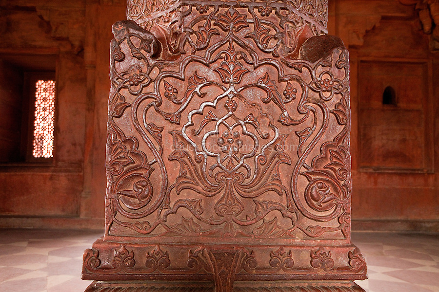 Fatehpur Sikri, Uttar Pradesh, India.  Decorative Carvings in Stone Pillar of the Diwan-i-Khas (Hall of Private Audience).