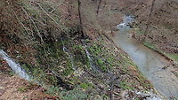 NWA Democrat-Gazette/FLIP PUTTHOFF<br /> Water spills from wet-weather springs into a creek Dec. 30, 2015 at Natural Falls State Park.