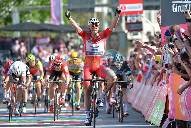 Marcel Kittel (GER) Etixx-Quick Step wins Stage 3 of the 2016 Giro d'Italia running 190km from Nijmegen to Arnhem, The Nethrerlands. 8th May 2016.<br /> Picture: ANSA/Luca Zennaro | Newsfile<br /> <br /> <br /> All photos usage must carry mandatory copyright credit (&copy; Newsfile | ANSA/Luca Zennaro)