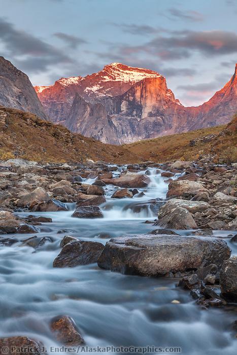 Morning light on Xanadu peak in the Arrigetch Peaks, Arrigetch creek, Gates of the Arctic National Park, Alaska.
