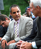 Washington, DC - August 19, 2009 -- Nascar driver Jaun Pablo Montoya (L) talks with retired Nascar driver Dale Jarrett while waiting prior to United States President Barack Obama greeting 2008 Sprint Cup Champion Jimmie Johnson during a ceremony on the South Lawn of the White House in Washington, D.C. USA 19 August 2009.  .Credit: Shawn Thew - Pool via CNP