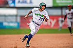 25 July 2017: Vermont Lake Monsters infielder Jesus Lage in action against the Tri-City ValleyCats at Centennial Field in Burlington, Vermont. The Lake Monsters defeated the ValleyCats 11-3 in NY Penn League action. Mandatory Credit: Ed Wolfstein Photo *** RAW (NEF) Image File Available ***