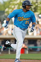 Myrtle Beach Pelicans outfielder Kevonte Mitchell (25) running to first base during a game against the Potomac Nationals at Ticketreturn.com Field at Pelicans Ballpark on July 1, 2018 in Myrtle Beach, South Carolina. Myrtle Beach defeated Potomac 6-1. (Robert Gurganus/Four Seam Images)