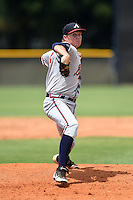GCL Braves pitcher Jordan Sechler (55) delivers a pitch during the second game of a doubleheader against the GCL Yankees 1 on July 1, 2014 at the Yankees Minor League Complex in Tampa, Florida.  GCL Braves defeated the GCL Yankees 1 by a score of 3-1.  (Mike Janes/Four Seam Images)