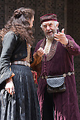 London, UK. 25 April 2015. Phoebe Pryce as Jessica performing with her real-life father Jonathan Pryce as Shylock. William Shakespeare's The Merchant of Venice is performed at Shakespeare's Globe, Globe Theatre, from 23 April - 7 June 2015. With Daniel Lapaine as Bassanio, Rachel Pickup as Portia and Jonathan Pryce as Shylock. Photo: Bettina Strenske