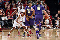 STANFORD, CA - February 27, 2014: Stanford Cardinal's Briana Roberson and Chiney Ogwumike during Stanford's 83-60 victory over Washington at Maples Pavilion.