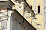 Detail of the facade and bellow tower of the church in Domaso, a town on Lake Como, Italy.