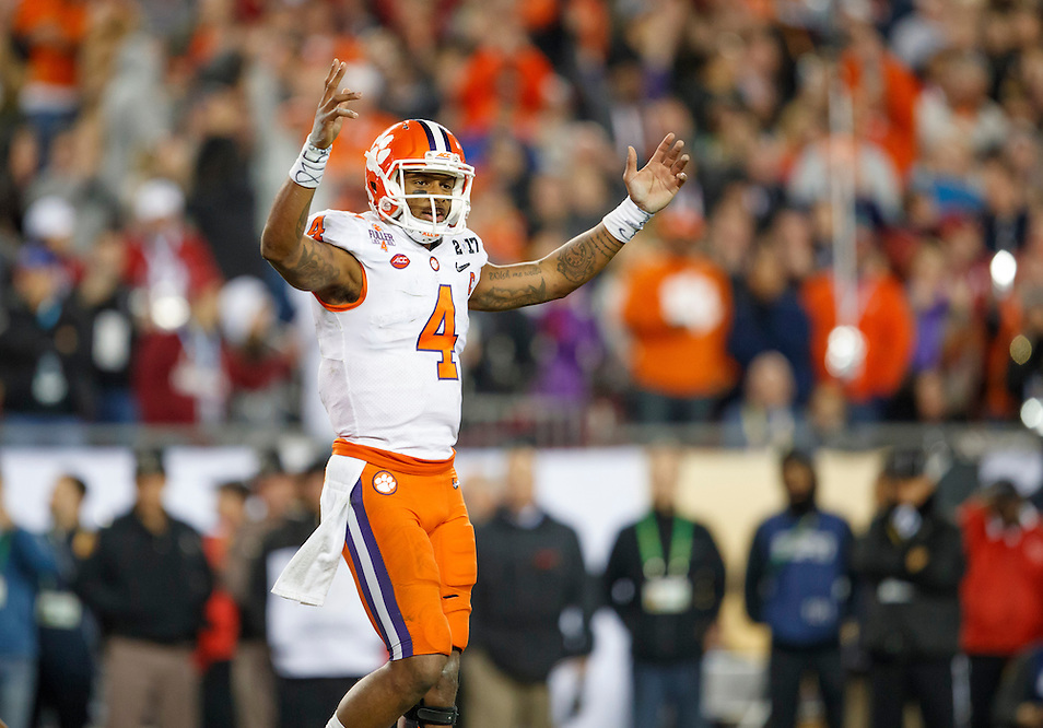 JANUARY 9, 2017: Clemson QB Deshaun Watson celebrates during Clemson's 35-31 victory over Alabama in the 2017 College Football Playoff National Championship game at Raymond James Stadium. (Photo by Matt May)