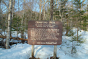 Crawford Path sign in the White Mountains, New Hampshire USA near the Highland Center. Crawford Path is the oldest continuously used mountain trail in America.