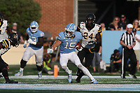 CHAPEL HILL, NC - SEPTEMBER 21: Beau Corrales #15 of the University of North Carolina runs with the ball during a game between Appalachian State University and University of North Carolina at Kenan Memorial Stadium on September 21, 2019 in Chapel Hill, North Carolina.