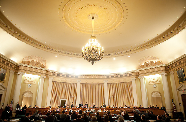 """UNITED STATES – FEBRUARY 3: The House Ways and Means Committee conducts their mark up hearing of H.R. 3865, the """"American Energy and Infrastructure Jobs Financing Act of 2012,"""" on Friday, Feb. 3, 2012. (Photo by Bill Clark/CQ Roll Call)"""
