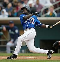 Jamal Strong of the San Bernardino Stampede bats during a California League 2002 season game at San Manuel Stadium, in San Bernardino, California. (Larry Goren/Four Seam Images)