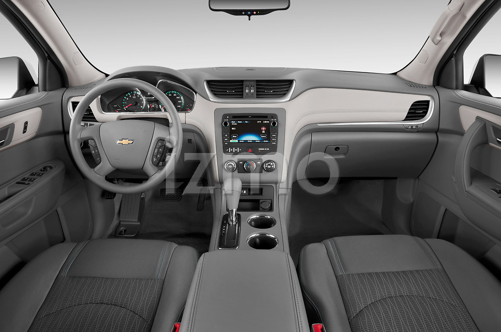 Stock photo of straight dashboard view of 2017 Chevrolet Traverse LS-FWD 5 Door SUV Dashboard
