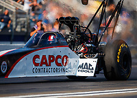 Nov 10, 2017; Pomona, CA, USA; NHRA top fuel driver Steve Torrence during qualifying for the Auto Club Finals at Auto Club Raceway at Pomona. Mandatory Credit: Mark J. Rebilas-USA TODAY Sports