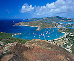 Antigua, West Indies   <br /> View of English Harbor and distant Falmouth Harbor from Shriley Heights - Leeward Caribbean Islands