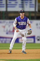 Binghamton Rumble Ponies third baseman David Thompson (8) during a game against the Akron RubberDucks on May 12, 2017 at NYSEG Stadium in Binghamton, New York.  Akron defeated Binghamton 5-1.  (Mike Janes/Four Seam Images)