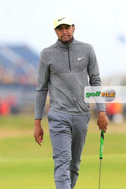 Tony Finau (USA) putts on the 2nd green during Saturday's Round 3 of the 145th Open Championship held at Royal Troon Golf Club, Troon, Ayreshire, Scotland. 16th July 2016.<br /> Picture: Eoin Clarke | Golffile<br /> <br /> <br /> All photos usage must carry mandatory copyright credit (&copy; Golffile | Eoin Clarke)