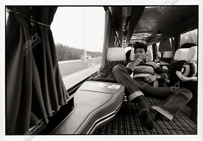 Bob Marley and The Wailers on thier tour bus during their Exodus Tour in Europe. Pictured here, Tyrone Downie. May 11, 1977.