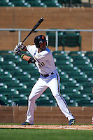 Surprise Saguaros third baseman Yadiel Rivera (10) at bat during an Arizona Fall League game against the Glendale Desert Dogs on October 23, 2015 at Salt River Fields at Talking Stick in Scottsdale, Arizona.  Glendale defeated Surprise 9-6.  (Mike Janes/Four Seam Images)