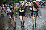 © Joel Goodman - 07973 332324 . 11/06/2016 . Manchester , UK . Revellers in the mud at the Parklife music festival at Heaton Park in Manchester . Photo credit : Joel Goodman