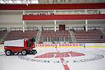 Zamboni driver Art Schultz resurfaces the ice prior to the Wisconsin Badgers opening night against the Bemidji State Beavers at the LaBahn Arena Friday, October 19, 2012 in Madison, Wis. (Photo by David Stluka)