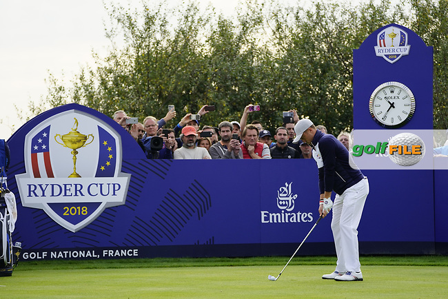 Justin Thomas (Team USA) on the 8th during the friday fourballs at the Ryder Cup, Le Golf National, Iles-de-France, France. 27/09/2018.<br /> Picture Fran Caffrey / Golffile.ie<br /> <br /> All photo usage must carry mandatory copyright credit (© Golffile | Fran Caffrey)