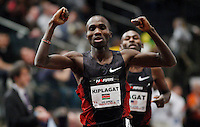Silas Kiplagat of Kenya (L) celebrates after wining the men's 1 mile run of the U.S open track & Field in the madison Square Garden in New York, United States. 28/01/2012. Photo by Kena Betancur / viewpress...