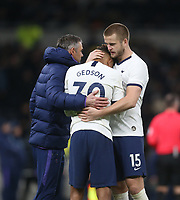 Tottenham Hotspur's Gedson Fernandes is consoled by Eric Dier at the end of the game<br /> <br /> Photographer Rob Newell/CameraSport<br /> <br /> The Emirates FA Cup Fifth Round - Tottenham Hotspur v Norwich City - Wednesday 4th March 2020 - Tottenham Hotspur Stadium - London<br />  <br /> World Copyright © 2020 CameraSport. All rights reserved. 43 Linden Ave. Countesthorpe. Leicester. England. LE8 5PG - Tel: +44 (0) 116 277 4147 - admin@camerasport.com - www.camerasport.com