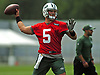 Christian Hackenberg #5, New York Jets quarterback, throws a pass during the first team practice of training camp at the Atlantic Health Jets Training Center in Florham Park, NJ on Saturday, July 29, 2017.