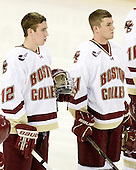 Kevin Hayes (BC - 12), Pat Mullane (BC - 11) - The Boston College Eagles defeated the visiting Merrimack College Warriors 3-2 on Friday, October 29, 2010, at Conte Forum in Chestnut Hill, Massachusetts.