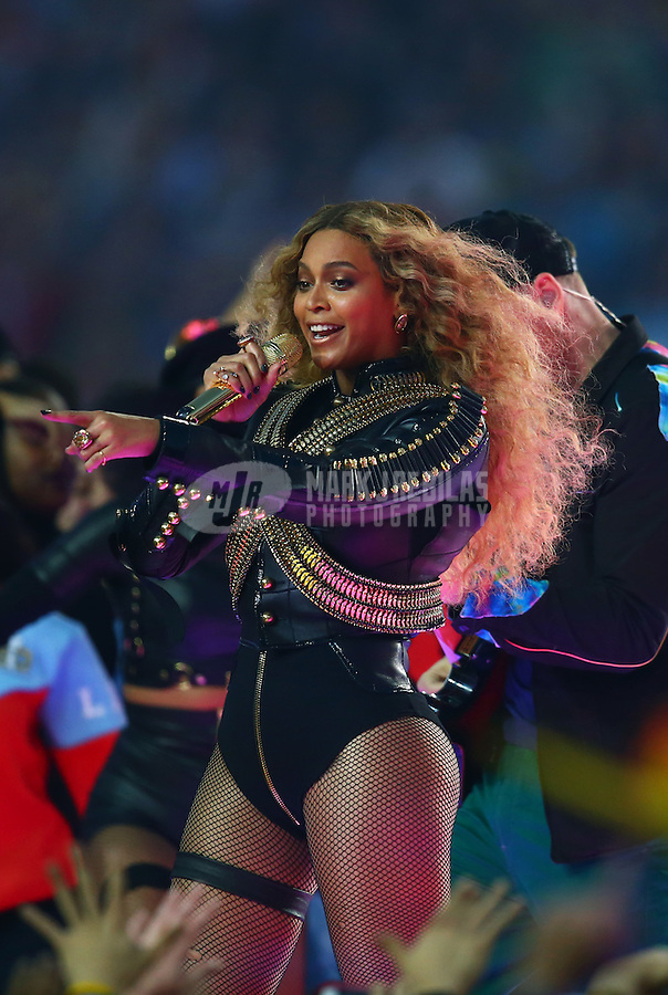 Feb 7, 2016; Santa Clara, CA, USA; Recording artist Beyonce performs at halftime in Super Bowl 50 between the Carolina Panthers and the Denver Broncos at Levi's Stadium. Mandatory Credit: Mark J. Rebilas-USA TODAY Sports