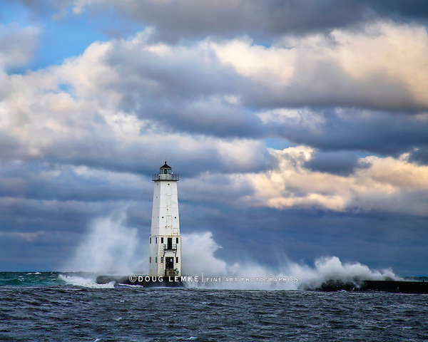 The Frankfort North Breakwater Light On A Stormy Morning In Michigan, USA