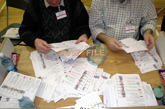 11/03/05 - Meath By-Election. Simonstown GFC, Navan County Meath..Votes being counted at the above..Photo:Barry Cronin/Chromepix.com - All rights reserved, One time use only, additional use requires additional payment. Phone 046-9071873/087-9598549 www.chromepix.com barry@chromepix.com.