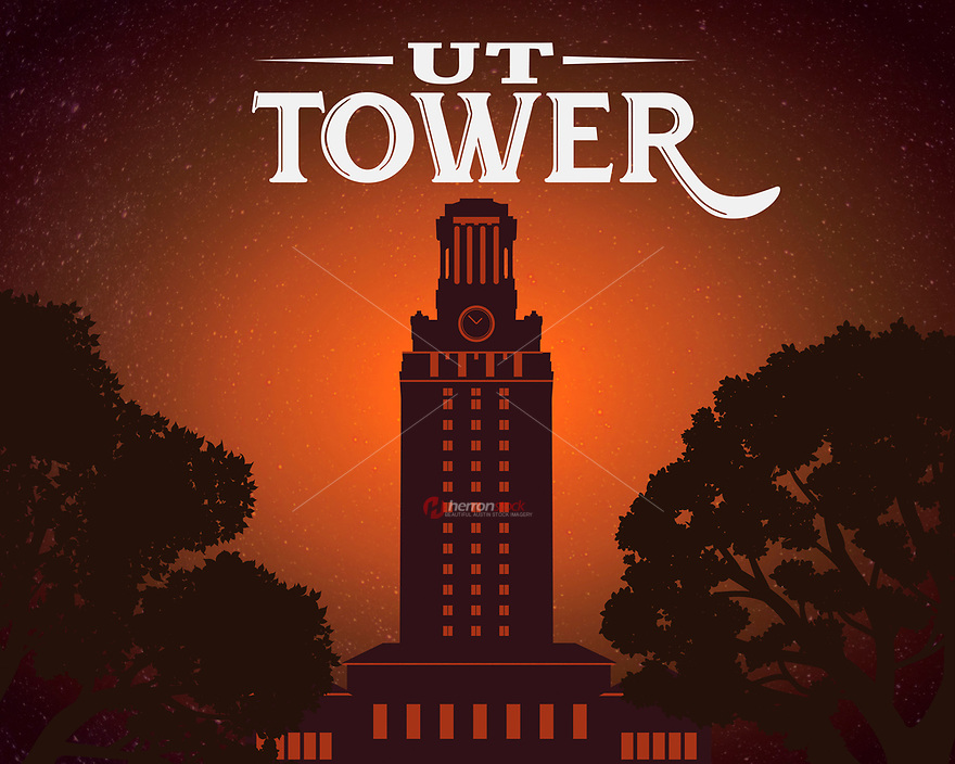 This is a poster print of the University Of Texas Tower in burnt orange. The Main Building (UT Tower) is a structure at the center of the University of Texas at Austin campus in Downtown Austin, Texas. The Main Building's 307-foot tower has 27 floors and is one of the most recognizable symbols of the university and the city of Austin.