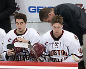 Ron Greco (BC - 28), Zach Walker (BC - 14), Bert Lenz (BC - Director-Sports Medicine) - The visiting University of Vermont Catamounts tied the Boston College Eagles 2-2 on Saturday, February 18, 2017, Boston College's senior night at Kelley Rink in Conte Forum in Chestnut Hill, Massachusetts.Vermont and BC tied 2-2 on Saturday, February 18, 2017, Boston College's senior night at Kelley Rink in Conte Forum in Chestnut Hill, Massachusetts.