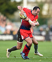 Jono Lance of Worcester Warriors takes on the Harlequins defence. Aviva Premiership match, between Harlequins and Worcester Warriors on October 28, 2017 at the Twickenham Stoop in London, England. Photo by: Patrick Khachfe / JMP