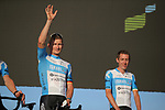 Andre Greipel (GER) and Dan Martin (IRL) Israel Start-Up Nation on stage at the team presentation before the Tour de France 2020, Nice, France. 27th August 2020.<br /> Picture: ASO/Thomas Maheux | Cyclefile<br /> All photos usage must carry mandatory copyright credit (© Cyclefile | ASO/Thomas Maheux)