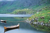 Small wooden row boats moored to shore of lake Ågvatnet (Aagvatnet) near the village of Å i Lofoten on the island of Moskenesøya, Lofoten islands, Norway