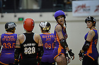 Roller Derby match between Wellington Richter City All Stars and Auckland Pirate City All Scars at TSB Arena, Wellington, New Zealand on Saturday 23 March 2013. <br /> Photo by Masanori Udagawa<br /> www.photowellington.photoshelter.com