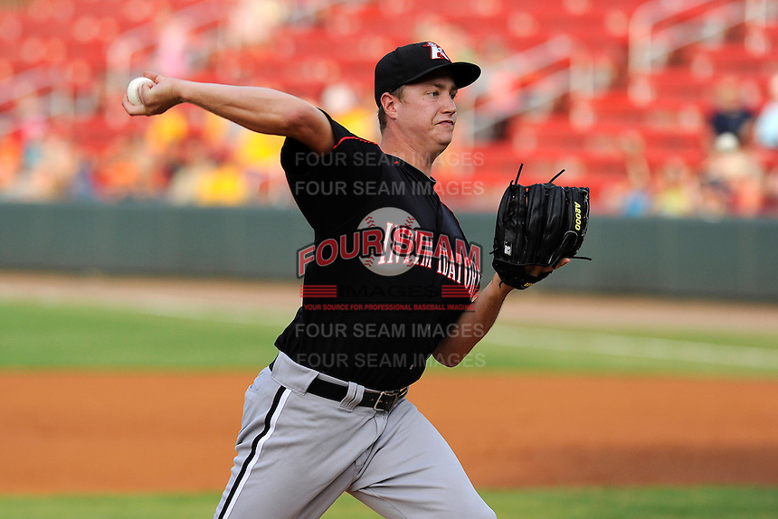 Pitcher Tony Bucciferro (32) of the Kannapolis Intimidators in a game against the Greenville Drive on Monday, August 5, 2013, at Fluor Field at the West End in Greenville, South Carolina. Kannapolis won, 3-0. (Tom Priddy/Four Seam Images)
