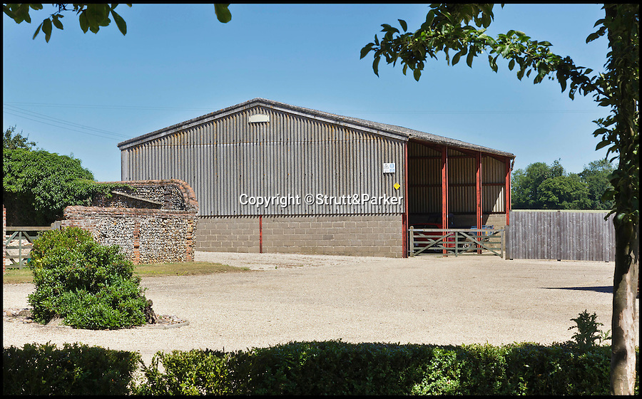 BNPS.co.uk (01202 558833)<br /> Pic: Strutt&Parker/BNPS<br /> <br /> The tractor shed.<br /> <br /> A historic country estate which was once the subject of a 150 year mystery of sunken treasure has gone on the market for the first time in 250 years.<br /> <br /> Spains Hall in Essex was burgled in the 18th century but the raiders' getaway cart got stuck in a bog and they threw their loot of silver in a lake on the estate.<br /> <br /> It wasn't until 1902 the lake was drained and the treasure was found. <br /> <br /> The estate in now on the market for £6m.
