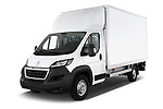 2017 Peugeot Boxer 410 4 Door Parcel Van Angular Front stock photos of front three quarter view