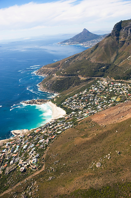 SOUTH AFRICA, NEAR CAPE TOWN, AERIAL VIEW OF COASTLINE WITH SUBURBS, ATLANTIC OCEAN