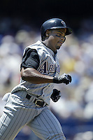Junior Spivey of the Arizona Diamondbacks runs the bases during a 2002 MLB season game against the Los Angeles Dodgers at Dodger Stadium, in Los Angeles, California. (Larry Goren/Four Seam Images)
