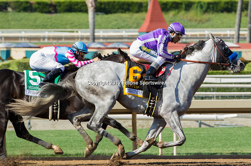 ARCADIA, CA. MAY 27: #6 Cupid ridden by Rafael Bejarano, takes the lead into the stretch of The Gold Cup at Santa Anita Stakes (Grade 1) on May 27, 2017, at Santa Anita Park in Arcadia, CA.(Photo by Casey Phillips/Eclipse Sportswire/Getty Images)