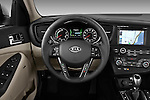 Steering wheel view of a 2011 Kia Optima Hybrid